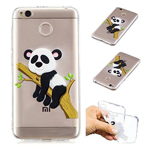 Kreativ Hülle für Xiaomi Redmi 4X,Handyhülle für Xiaomi Redmi 4X,Leeook Komisch Niedlich Baum Panda Muster Entwurf Crystal Clear Silikon Schutzhülle Case TPU Bumper Cover Hülle Transparent für Xiaomi Redmi 4X + 1 x Schwarz Eingabestift-Tree Panda