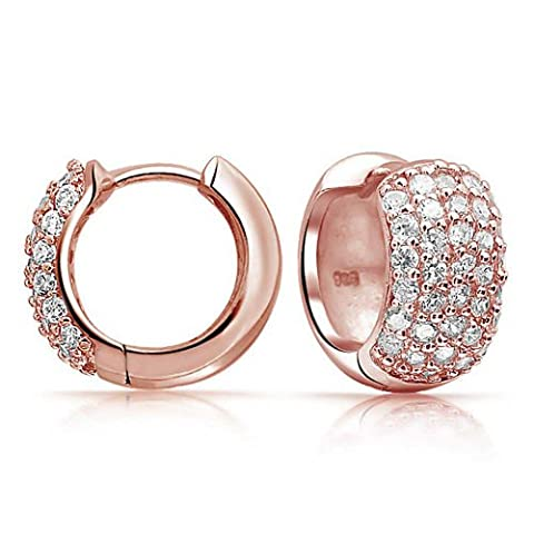 Bling Jewelry 925 Silver Pave CZ Wide Huggie Hoop Earrings Rose Gold Plated