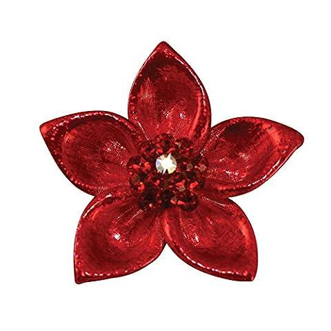Brosche in Weihnachtsstern-Design, mit österreichischem Kristall, rot emailliert