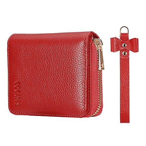 COCASES Damen Leder Portemonnaie und Kreditkartenetui in Einem mit diversen Fächern Rot