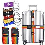 QICI Viaggio bagagli Tag Pack di 7 Viaggio Holiday Deposito bagagli Tag 2 Pezzi Cinghie per Valigie Bagaglio Cinture
