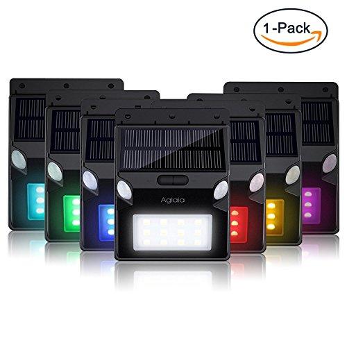 Luz Solar, Aglaia foco LED/ luz solar LED con 2 Sensores de Movimiento, 12 LEDs con Color RGB y 5 Modes de Iluminación para Jardín, Patio, Exterior