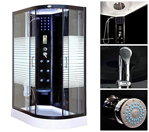 Home Deluxe Black Pearl 120x80 cm rechts Duschtempel, inkl. Dampfsauna und komplettem Zubehör