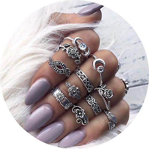 Frauen Ringe Für Schmuck (11 Stück Orientalisches Vintage Midi Ringe Fingerring-Set für Damen Mädchen, Fashion Frauen Midi Ring Nagel Finger Band)