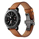 Hunpta@ Uhrenarmband für Samsung Gear S3 Schmetterlingsschnalle Leder Armbanduhr Armband für IWatch für Samsung Gear S3 (Braun)