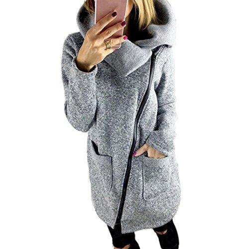 Moonuy Manteau des Femmes d'automne, Moonuy Womens Plus Taille Garder Chaud col à Long Manteau épais Sweat Zip Long Pull Couleur Unie Slim Fit Windcoat Tops d'usure Occasionnels (S, Gray)