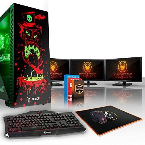 Fierce Gobbler RGB Gaming PC Bundeln - Schnell 3.5GHz Quad-Core Intel Core i5 7400, 240GB SSD, 1TB HDD, 8GB, NVIDIA GeForce RTX 2080 8GB, Win 10, Tastatur (QWERTY), Maus, 3X 21.5-Zoll-Monitore 832538