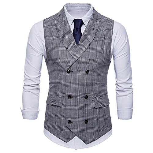 GWELL Herren Anzugweste English Style Kariert Slim Fit Business Basic Casual Weste Zweireiher Hellgrau S