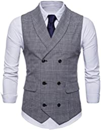 GWELL Hommes Costume Gilet de Style Anglais à Carreaux Slim Fit Business  Basique Casual Veste Gilet 93d18703095