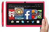 EGTAB 7 inch tablet pc | 8GB | HD 1024x600 | Android 4.4.2 QUAD CORE Tablet | Silicone Protection Case | Dual Camera |WiFi | Support with wired HDMI (via external adapter) and 3G Calls (via dongle) Red