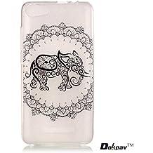 Dokpav® carcasas de Wiko Lenny 2 Caso Case,Funda del Teléfono Celular Delgado y Elegante con Material de TPU Suave para Wiko Lenny 2 - Elefante En Flores