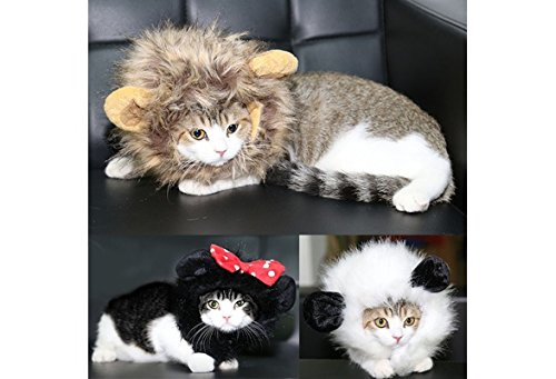 Cut Pet Wig with Ears for Dogs or Cats, Christmas Cosplay Costumes Festival Party Clothes Fancy Dress up,Lion Mane /Panda (color: ()