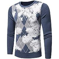 Zyh Suéteres para Hombres, Manga Larga Delgada Jersey de Punto Cuello Redondo Estampado Ocasional Camisa de Fondo Otoño Invierno Moda Juveniles para jóvenes (Color : Azul, tamaño : L)