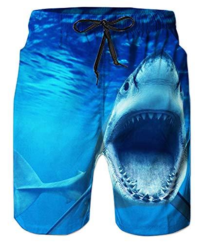 ALISISTER Hai Badehose Herren 3D Druck Elastische Taille Badeshorts Sommer Hawaii Strand Boardshorts Herren Mit Mesh Futter für Surf Urlaub Laufen XL