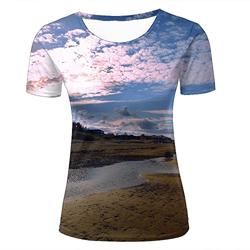 f52f7660fa4cc6 para Mujer 3D Printed Casual Summer Tees Shirts Charming Dusk Sky Graphic  Crewneck Short Sleeve T-Shirts M
