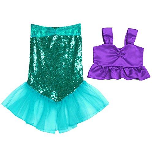 YiZYiF Kleine Mädchen Meerjungfrau Kostüm Pailletten Karneval Halloween Kostüm Kleid Bustier Top mit Meerjungfrau Rock Gr. 92 98 104 110 116 122 128 Violett & Grün 122