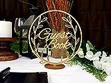 Rea66de Tischschild aus Holz für Hochzeit Gästebuch Tischschild mit Kranz rustikales Gästebuch Schild Rose Gold Silber Gold