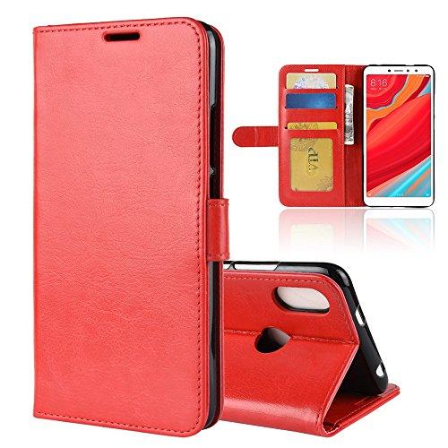 LAGUI Funda Adecuado para Xiaomi Redmi S2, Carcasa Tipo Libro, Cubierta de ranuras para tarjetas, Caja de soporte horizontal y solapa con cierre magnético, Caso que protege todo el teléfono. rojo