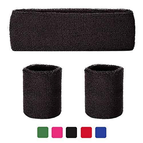 LADES Schweißbänder Set - 3 Stück Schweißband Sport Stirnband und Armbänder Schweiß absorbierend Sport Armband Wrist Wraps für Männer und Damen(Schwarz) - Sport-armband Für Männer