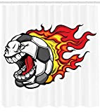 ziHeadwear Sports Shower Curtain, Cartoon Image of a Blazing Flames Soccer Ball with Aggressive Angry Mean Face, Fabric Bathroom Decor Set with Hooks, 60W X 72L inches Extra Wide, Red Yellow Grey