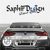 Saphir Design BMW Herzschlag - Autoaufkleber - A176/18 x 6 cm Hochleistungsfolie in der Farbe Weiss