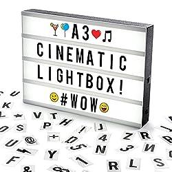 Cosi HomeTM A3 Lightbox, Lichtbox, Leuchtkasten mit 120 Buchstaben, Emojis und Symbolen - zum individuellen Gestalten von Nachrichten - LED Deko Leuchtschild im Vintage Kino Design   USB und Batterie