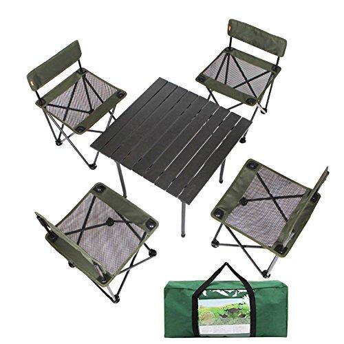 QIANGDA Camping Pliante Table Chaise Ensemble De 5 Pièces À Toute Épreuve Plier dans Un Sac Dessus De Table en Alliage D'aluminium Portable - Pliable: 37cm X 37cm X 57cm
