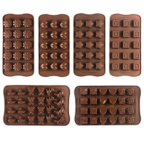 JPSOR 6PCS Moldes de Chocolate Moldes Para Caramelos Dulces Moldes de Silicona Para Hornear Con Forma de Corazón Flores Estrellas Cuadrado & Animales