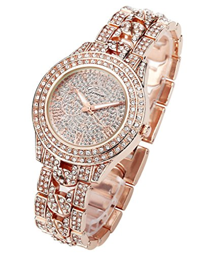 JSDDE Uhren,Luxus Elegangt Damen Armbanduhr mit Strass Glitzer Dial Damenuhr Metall-Band Ladies Dress Analog Quarzuhr (Rosegold) - 2