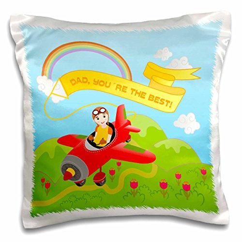 Belinha Fernandes - Gifts for Fathers Day - Cute kid pilot flying red aeroplane near rainbow and clouds with a message for dad - 16x16 inch Pillow Case (pc_125893_1)