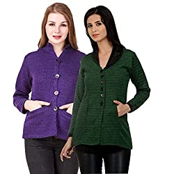 Kritika World Womens Wool Cardigan Dress (COAT_NEHRU_PURPLE_OCOAT_GREEN_Purple Green_Large)
