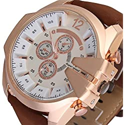 SSITG Retro Men's Rose Gold Brown Leather Strap Watch Sport Watch Wrist Watch Xmas Gift # 4