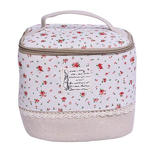 Contever® multifunzione sacchetto hand cosmetic borsa da toilette borsetta da viaggio cosmetico wash bag per le donne la girl - fiore rosso