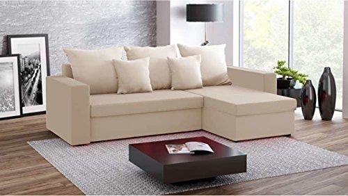 Justhome fresh divano angolare divano letto microfibra (lxlxa): 142x237x75 cm beige penisola a destra