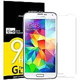 NEW'C Verre Trempé pour Samsung Galaxy S5, Film Protection écran - Anti Rayures - sans Bulles d'air -Ultra Résistant (0,33mm HD Ultra Transparent) Dureté 9H Glass