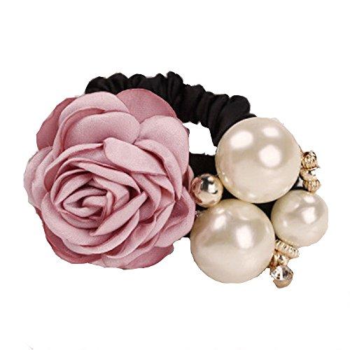 FENGLANG 2 PCS Elastisch Haarschmuck Haargummi mit Stoff Blumen und Perlen Party, Hochzeit, Weihnachten 2 PCS (Rosa)