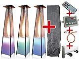 Traedgard® Design Pyramidenheizstrahler Vesuvio mit LED-Beleuchtung, Fernbedienung, Rollenset, passender Schutzhülle und Gastroset, Terrassenheizer mit SCHOTT Glasröhre