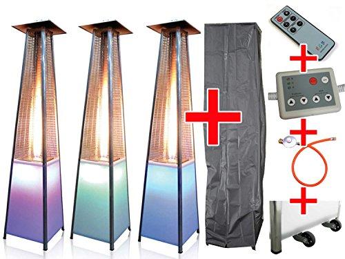 Traedgard Design Heizstrahler Vesuvio LED mit Lichtmodul und Fernbedienung und Rollen inklusive passender Schutzhülle