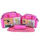 Jitong 4 Stück Wickeltasche Set mit Cartoon Muster| Mama Handtasche Reisetasche + Baby Wickelauflage + Babyflasche Taschen (Rose, Größe #2)