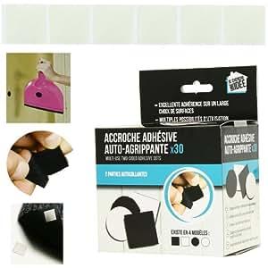 Promobo - Lot 30 Accroches Adhésives Velcro Suspension Murale Forme Carré Blanc