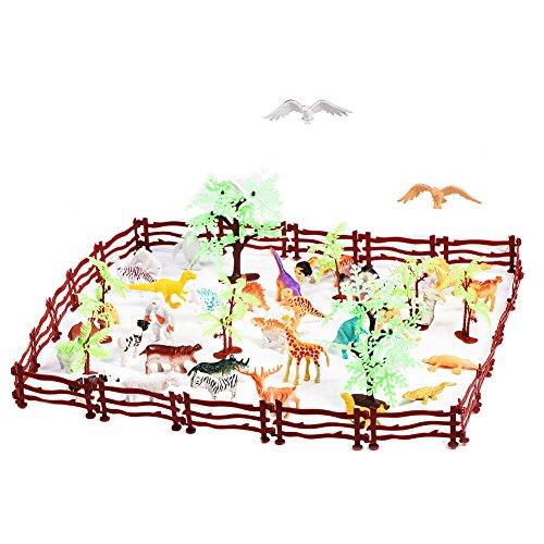 Fdit 68pcs / Set Simulazione Plastica Zoo Animali Selvatici Albero Recinzione Modello Bambini Bambini Giocano Giocattolo Set Strumento di Gioco