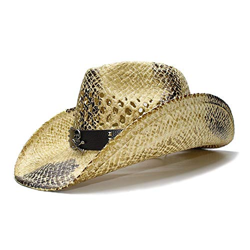 Schwarzer Sommer Retro breitrandiger Sonnenstrohhut Cowgirl Cowboy Westernhut Hohlledergürtel Hut (Farbe : 1, Größe : 56-58CM)
