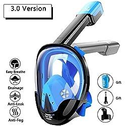 NONMON Masque de Plongée Intégral,Masque de Snorkeling Plein Visage, Vision Panoramique à 180°,Dual Tuba,Support de Caméra Sport,Anti-buée et Anti-Fuite,pour Adulte et Enfant