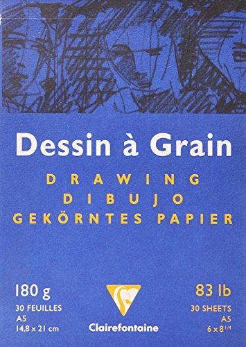 Clairefontaine 96626C Zeichenblock (30 Blatt, 180 g, 14,8 x 21 cm, ideal für Kunstunterricht,...