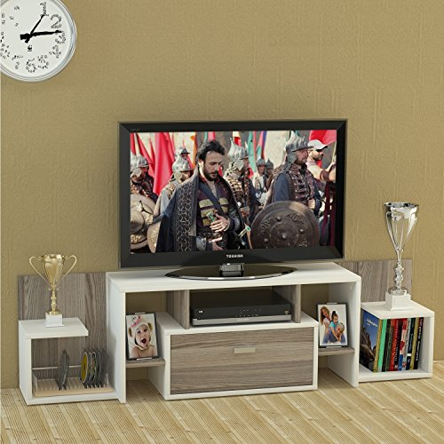 KINGO Wohnwand – Weiß / Avola – TV Lowboard mit Regale / Wandboard in modernem Design - 2