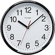 Plumeet 255 mm Reloj negro de cuarzo de pared silencioso, decorativo para el hogar/ la cocina/ la oficina/ la escuela, fácil leer y con pilas (Negro)