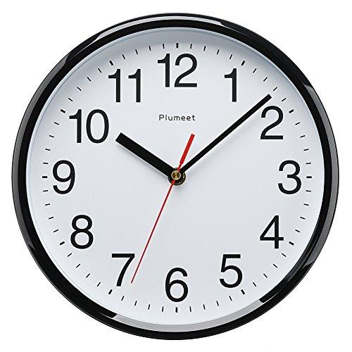 Horloge murale pour enfants, Plumeet 25cm Horloge murale décorative de qualité, mécanisme silencieux à quartz, pour maison/cuisine/bureau/école, Lecture de l'heure facile (Noir)