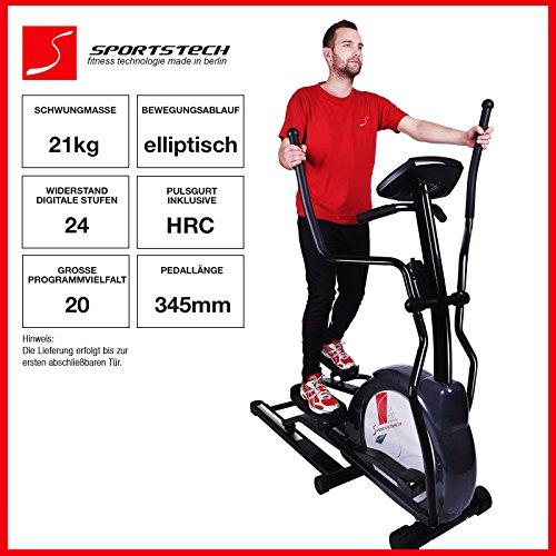 Sportstech CX630 vélo professionnel avec mouvement de course elliptique, masse d'inertie 21 kg, 4x HRC - 20 programmes de formation - 24 niveaux de résistance - hometrainer stepper ergomètre elliptique