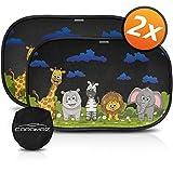 Tendine parasole auto bambini nere animali - Parasole bambini accessori auto,2 pezzi 51x31cm, tende da sole per esterno, protezione solare raggi UV