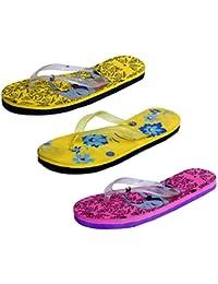 IndiWeaves Womens Rubber Printed Hawaii Slipper House Flip Flop(Pack Of 3) - B079TXZRNM